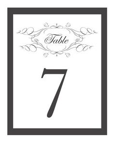 Free, Printable Wedding Table Numbers