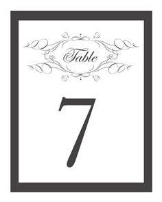 Free, Printable Wedding Table Numbers