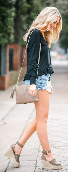 ---Stitch Fix Spring/summer fashion inspiration. Can't go wrong with denim shorts and a cute black blouse. Wedges and the bag are a perfect accessory. Try best clothing subscription company. Click on the picture to get started. #sponsored #StitchFix