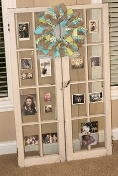 Door with vintage photos...great for a 70th, 80th, 90th birthday party.  She would love this w/ the family window frame!!  Display at Manor after Party.
