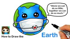 We are in this together, so please be kind to each other during this pandemic. ❤️Learn How to Draw the Earth wearing a Mask easy, step by step for Coronaviru. Cute Little Drawings, Cute Cartoon Drawings, Art Drawings Sketches Simple, Cute Disney Drawings, Easy Drawings For Kids, Cute Kawaii Drawings, Kawaii Doodles, Drawing For Kids, 3d Drawings
