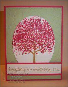 Toni Tessler (tonistamps) Independent Stampin Up Demonstrator. Sheltering Tree, friendship card, Strawberry Slush Pistachio Pudding, Baked Brown Sugar, Spring Flowers embossing folder