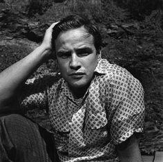 Marlon Brando Brooding Portrait, 1955, by Sid Avery