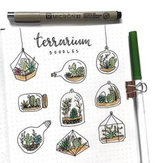 Couple of people suggested to see some doodles of terrarium, so here is a Ter. // Couple of people suggested to see some doodles of terrarium, so here is a Ter. // Couple of people suggested to see some doodles of terrarium, so here is a Ter. Bullet Journal Notes, Bullet Journal Aesthetic, Bullet Journal Spread, Bullet Journal Doodles Ideas, Doodle Art Journals, Journal Ideas, Easy Doodle Art, Bujo Doodles, Simple Doodles