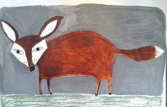 fox painting on paper