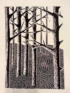 arbres linogravure création annette saulière (2014)
