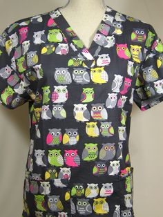 #caringplus scrub top -Owl Gray - CaringPlus scrubs and uniforms - workwear clothing for nurses, caregivers and other healthcare professionals.  Perfect apparel for doctor, dental and optician offices, nursing homes, rehab centers, vet clinics, animal hospitals, or medical labs