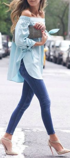 Minty Off Shoulder Top by Something Navy  www.musaargentina...