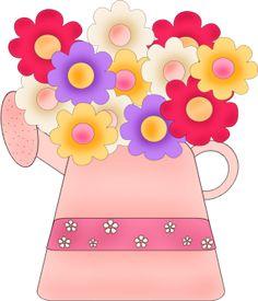 """Pot of Flowers"" Clip Art."