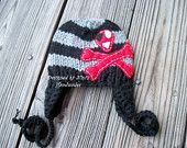 Childrens Jolly Roger Skull and Bones BLACK And GREY Beanie-Hat-Pirate Hat- Pirate birthday party Hat. $25.00, via Etsy.