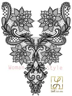 Discover thousands of images about Livello Print Spring 2015 Design: Sajben Renáta Machine Embroidery Patterns, Lace Patterns, Hand Embroidery Designs, Lace Tattoo Design, Lace Design, Gold Embroidery, Embroidery Fashion, Voodoo Tattoo, Fashion Sketch Template