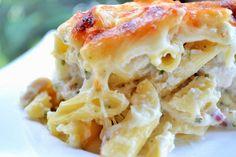Three Cheese Chicken Alfredo Casserole - This creamy, decadent casserole is the perfect comfort food