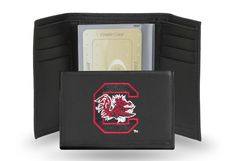 South Carolina USC Gamecocks Team Embroidered Leather Trifold/Wallet