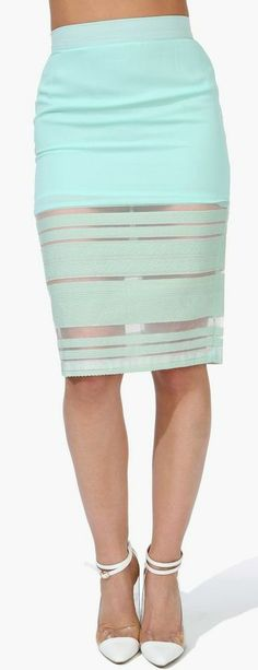 Sheer Lines Pencil Skirt