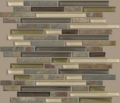 """Ceramic and Glass wall tile in style """"Mixed Up"""" Random Linear Mosaic Slate - color Spring Valley - The product features a mixture of glass and slate with subtle pops of an organic green color - Flooring by Shaw"""