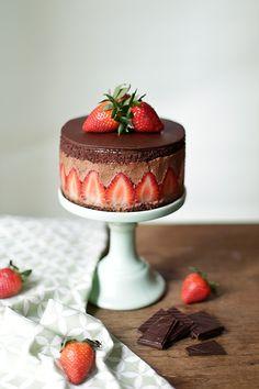 Tarta fraisier de chocolate