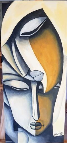 Famous Artists Paintings, Indian Art Paintings, Modern Art Paintings, Abstract Face Art, Abstract Portrait, Stone Art Painting, Cubist Art, Mother Art, Arte Pop