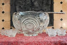 Vintage Clear Glass Punch Bowl Set - Slewed Horseshoe Pattern Punch Set - Silver Plate Punch Ladle - 12 Punch Cups - Complete Punch Set