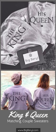 These King Queen Matching Couple Sweat Shirts are couple goals! For The King & His Queen! Be royal feel royal with these royal sweat shirts! Cute Couple Shirts, Couple Clothes, Couple Outfits, Matching Hoodies For Couples, Matching Shirts, Best Gifts For Couples, Cute Couples, Black Love, King Queen