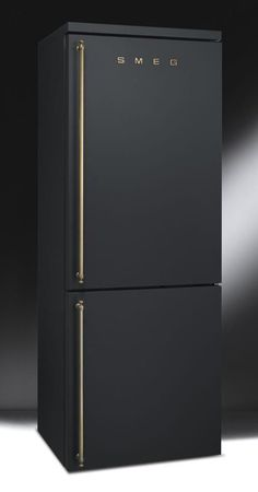 Matte black fridge by Smeg. Smeg is an Italian home appliance manufacturer based in Guastalla, near Reggio Emilia in the north of the country. i want this for my home Kitchen Interior, Interior Design Living Room, Kitchen Decor, Kitchen Ideas, Apartment Kitchen, Kitchen Furniture, Fridge Decor, Furniture Design, Furniture Removal