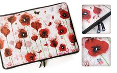 Housse pour PC et macbook POPPIES / Laptop sleeve POPPIES by Minasmoke