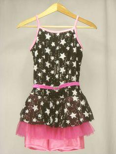 Girls Dance Costume Competition XLC Black Pink Stars Weissman Tap Jazz NEW