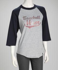 Navy & Red 'Baseball Mom' Raglan Tee - Women by Ready Set Sparkle Couture #zulily #zulilyfinds