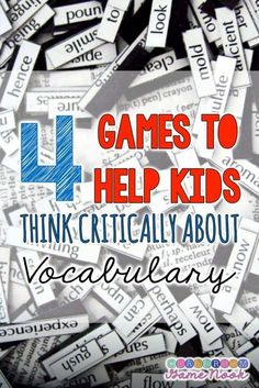 4 Games to Help Kids Think Critically about Vocabulary - FREEBIES Included with some awesome tips for expanding your students' knowledge of the words around them! With a little adaptation, these are great for middle school, too. Vocabulary Strategies, Vocabulary Instruction, Teaching Vocabulary, Teaching Language Arts, Vocabulary Activities, Vocabulary Words, Teaching Reading, Speech And Language, Teaching Resources