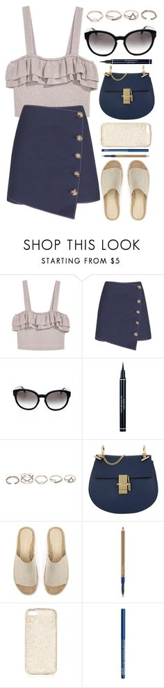 """""""Button Skirt"""" by smartbuyglasses-uk ❤ liked on Polyvore featuring Prada, Christian Dior, GUESS, Chloé, Mint Velvet, Estée Lauder, NYX and Blue"""