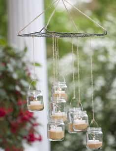 Rustic outdoor chandelier - great for camping.