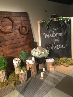 Woodsy Baby Shower Decor  Forest Baby Shower  Woodland Theme  Chalkboard Baby Shower  Tree Trunks Wooden Backdrop  wreath
