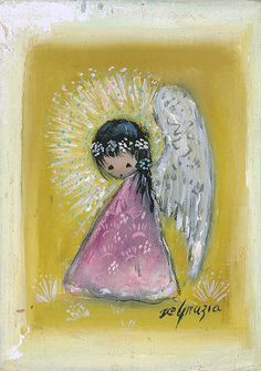 """DeGrazia's angels, """"Untitled - UN Stamp"""", oil on canvas. DeGrazia Gallery in the Sun open daily from 10-4, free admission."""