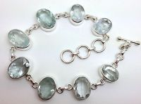 aquamarine faceted Oval bracelet, real natural gemstones, solid Sterling Silver