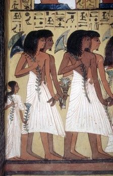 Detail of painting in tomb at Valley of the Nobles. West Bank, Luxor. High Egypt
