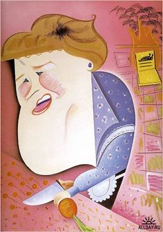 Julia Child as an exaggerated illustration. I feel like the knife should have been the largest part of the picture.