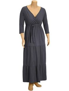 I am intrigued by the tiers in this maxi dress, and I like the three-quarter sleeves. Whaddya think?  Women's Plus Tiered Cross-Front Maxi Dresses   Old Navy