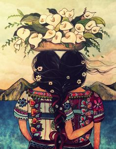 Art print sisters best friends Guatemala by claudiatremblay