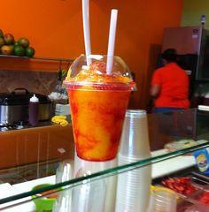 Mangonada! Mexican mango smoothie with chamoy.