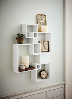 Amazon.com - Generic Intersecting Squares Wall Shelf - Decorative Display Overlapping Floating Shelf - Home Decor Wall Art - Interlocking Shelves/Wall Cubes/Storage Cubes/Ledge Storage/Wall-Mounted Hutch, Set of 4, 2 Candles Included - White -