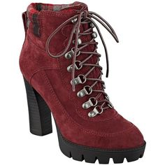 Nine West Abrial Suede Lace-Up Ankle Boots ($159) ❤ liked on Polyvore featuring shoes, boots, ankle booties, red, suede lace up booties, platform ankle boots, high heel booties, lace up booties and suede booties