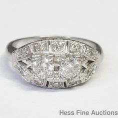 Antique Heavy Platinum Genuine Diamond Right Hand Ring Approx.65ctw #Cocktail