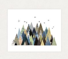 Mountain Art Print  Mountain Collage Illustration by LindseyKayCo