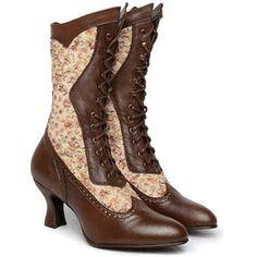 Cognac Kidskin and Floral Fabric Vows Boots
