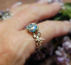cad77a569 Swarovski Crystal AB Handmade Wire Wrapped Ring by MyWiredImagination,  $69.50 Use coupon code PINIT10 to