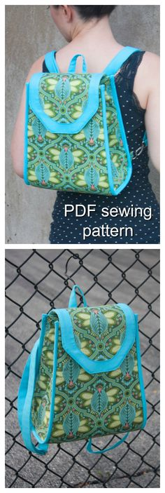 Downloadable pdf sewing pattern. This small backpack is perfect for being on-the-go and hands-free! The backpack features solid accents to make your feature fabric pop! The straps are adjustable and clipped to the sides of the backpack. A flap with a magnetic snap closure keeps your belongings safe, and there is a zippered pocked in the lining to store your cell phone.