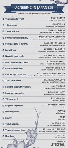 How to say you agree. -- Japan, Japanese words, vocabulary, learning different languages, infographic, sentence examples, everyday phrases, communication
