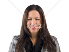 a woman on a sad face - Image of a woman on a sad face over white background