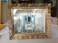 Blue vanity. Painted unfinished Bespaq by Cat