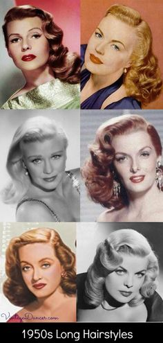 1950s long hairstyles, curly hair, movie stars, day and evening 50s hair ideas