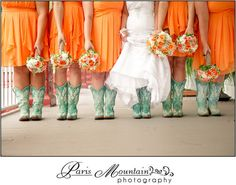 McGarity House Paris Mountain Photography Wedding Bridesmaids Cowgirl Boots Orange and Blue BOUQUETS BY www.Festive-Creations.com